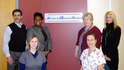 Back row, from left: Paul Schkolnik, Ph.D., Chief Research Officer; Monique Lumpkin, MSW, Research Institute Supervisor; Dr. Elizabeth Lottes, Research Physician; Kimberley Ross, MA, Research Assistant. Seated: Rachel Benge Glispie, RN, Research Nurse; Michelle Brenner, LPN, Research Nurse. Not pictured Tiffany Madden, MS, Doctoral Psychology Resident.